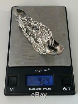 1800s Antique Figural Dutch Girl 833 Silver Chatelaine Waist Clip Tools Holder