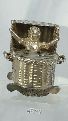 1899 Victorian Dutch miniature silver figure of a baby in rocking cradle