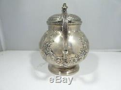 19th C Sterling Silver Dutch Pitcher Adorned With Angels