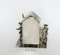 19th c. Dutch silver miniature of street theater stage