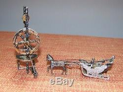 2 DUTCH Silver Miniatures (Sterling) Spinning Wheel & Horse drawn Carriage VGC