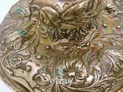 2 Dutch Sterling Silver Baroque Candle Sticks Marked Floral Motif c1910