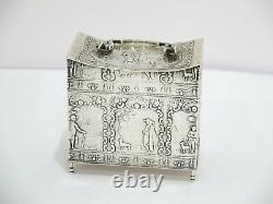 3 5/8 in 930 Silver Antique Dutch Man with Dog Scenes Tea Caddy with Handle