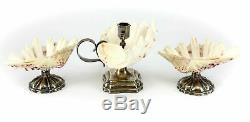 3pc. Dutch Silver and Shell Candlestick & Footed Shell Bowls, 18 Century