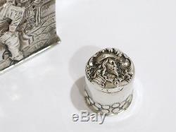5 1/8 in European Silver Antique Dutch Smoking Pipe/Playing Backgammon Flask