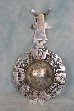 6 Antique Dutch Sterling Silver Tea Strainer Working Windmill Highly Detailed