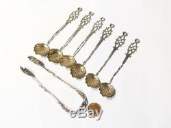 6 Antique Silver DUTCH Decorative Tea Spoons with Matching Sugar Tongs #31