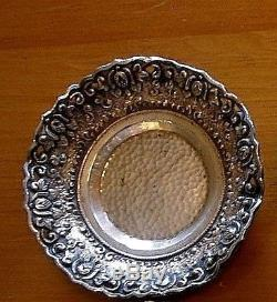 6 Dutch Indonesian Yogya 800 Silver Hammered Floral Repousse Nut Dishes TJW 318g