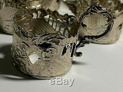 6 X Solid Silver. Dutch Liquer Glass Cup Holders Amsterdam 1900. 105. Grams