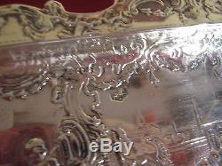 90.4 gram STUNNING 1880's DUTCH SOLID SILVER PEN TRAY WITH LOVELY REPOUSSE WORK
