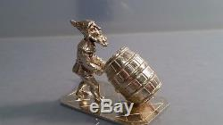 A Charming unusual Dutch silver miniature figure of a gnome with barrel