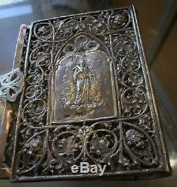 A Fine Antique Solid Silver Hallmarked Holy Scriptures Dutch And U. K Book Cover