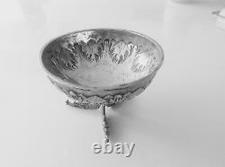 A Fine Solid Silver Hallmarked Vintage Dutch Small Bowl On 3 Fish Pattern Legs