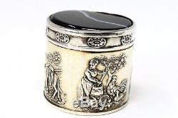 A Nice Antique Solid Silver Dutch Berthold Muller Agate Embossed Pill Box #23182