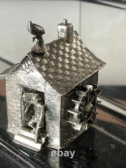 A Rare C19th Dutch Solid Silver Riverside House With Spinning Windmill On Side