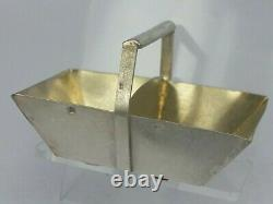 A Solid silver miniature basket trug with gold gilded interior Dutch toy