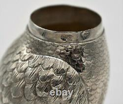 A good Dutch sterling silver OWL container 1893. RED EYES pull-off head. 4.75