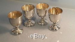 # A lovely set of four solid silver eggcups 835 continental dutch silver