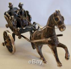 ANTIQUE MINIATURE DUTCH SILVER CARRIAGE COACH With HORSE & RIDERS MOVING WHEELS