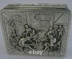 ANTIQUE SOLID SILVER TABLE SNUFF BOX DUTCH 1927 LARGE HEAVY 123g