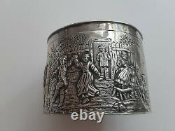 Amazing large antique Dutch hallmarked solid silver tea box with rural scene