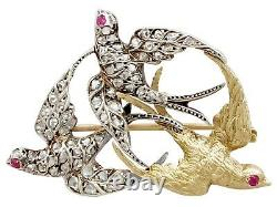 Antique 0.55 Ct Diamond and 21k Yellow Gold, Silver Set'Swallow' Brooch