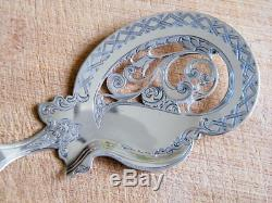 Antique 1876 Dutch Silver and Agate Handled Fish or Pie Server