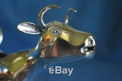 Antique 1895 Amsterdam Dutch 833 Sterling Silver Cow Figural Creamer Fly Insect
