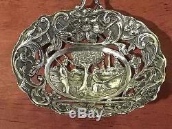 Antique 1901 Dutch 835 Silver Nut Sifter Spoon Repousse Pierced Engraved Fishing