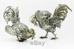 Antique 833. Unusual Dutch silver pair of salt and pepper fighting Roosters, Zaa