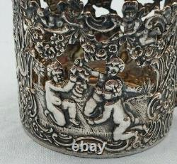 Antique Beautiful Dutch. 875 Silver Cup Holder with Cherubs & Flowers #7071