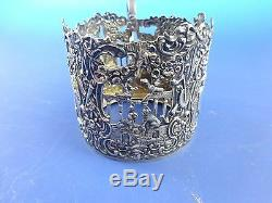 Antique Beautiful Dutch. 875 Silver Cup Holder with Cherubs, Flowers etc