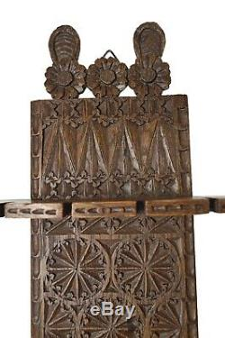 Antique C. 1885 Frisian Oak Two-Tiered Chip Carved Silver Tea Spoon Rack, Dutch