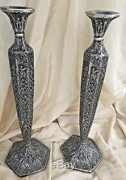 Antique Candlestick Holders Dutch Repousse Silver Plate 17.25 Tall Set of 2