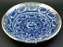 Antique Chinese Kangxi Porcelain Blue And White Plate, Dutch Silver Mounts