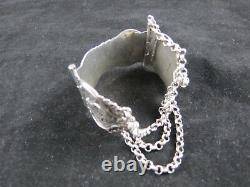 Antique Circa 1852 Hallmarked Dutch Silver Bracelet Three Chain With A Pin Clasp