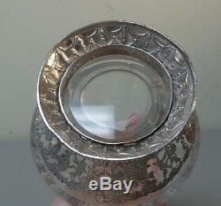Antique Crystal Decanter, Dutch. 830 Silver, Cased Decoration, Ship Finial