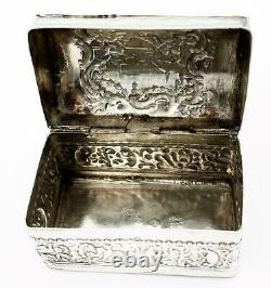 Antique DUTCH 19th Century Repousse. 833 SOLID SILVER TRINKET / RING BOX