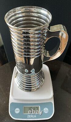 Antique Dutch 1851 Large, Heavy And Tall Sterling Silver Cup Mug With Engraving