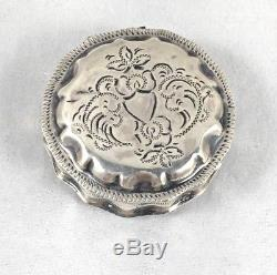 Antique Dutch 1867 833 Sterling Silver Round Hinged Pill Box- 1 1/2