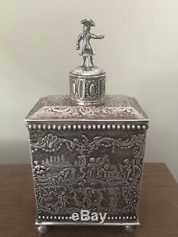 Antique Dutch 833 Silver Tea Caddy marked 218 Grams 7 Sterling Not Scrap