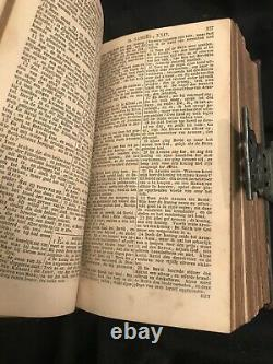 Antique Dutch Bible Hymnal 19th century (1867), Leather Sterling Silver Clasp