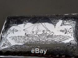 Antique Dutch Engraived Boat Sailors Silver Box Hallmaked made in 1882