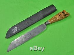 Antique Dutch Farmer Germany HERDER made Silver Carved Wood Fighting Knife