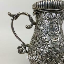 Antique Dutch French Silver Figural Rococo Repousse Footed Chocolate Coffee Pot