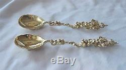Antique Dutch Gilded Sterling silver Spoons Amsterdam British Royal Crest 1730