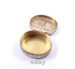 Antique Dutch Hallmarked 925 Sterling Silver Embossed Repousse Snuff Box 33.2g