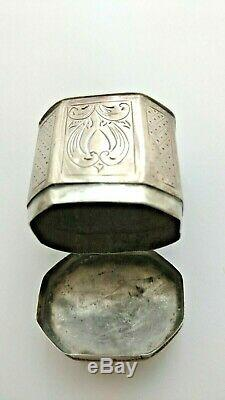 Antique Dutch Hinged Silver Peppermint Pill Box Hand Etched Octagon