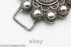 Antique Dutch Holland wire work belt buckle late 19th century solid silver 833