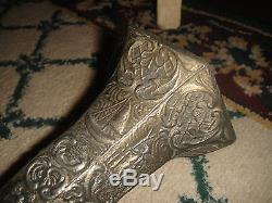 Antique Dutch Or Holland Silver Metal Victrola Horn-Intricate Raised Scenes-LQQK